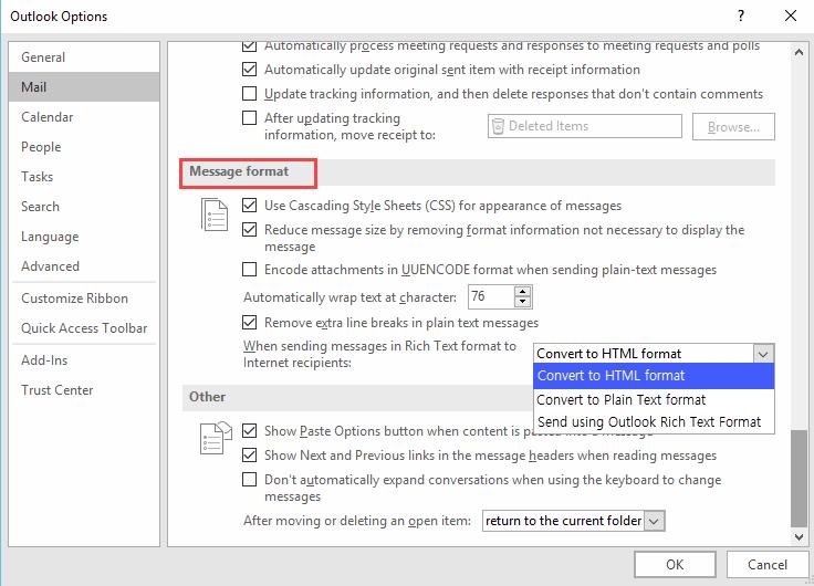 Convert to HTML format screen