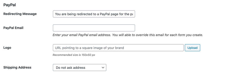 PayPal fields