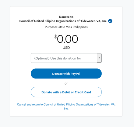 paypal donation page