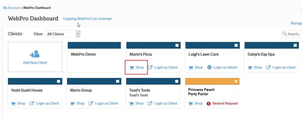 shop link webpro admin