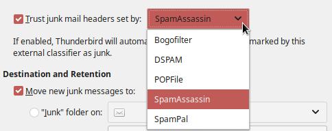 Set Thunderbird to trust SpamAssassin headers