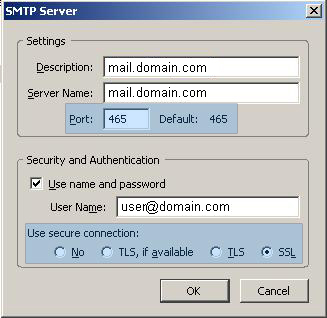 Thunderbird SMTP settings
