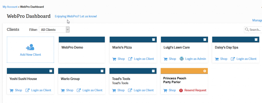 WebPro dashboard showing pending account