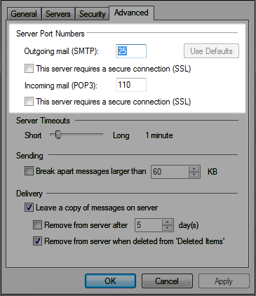 Windows Live Mail settings