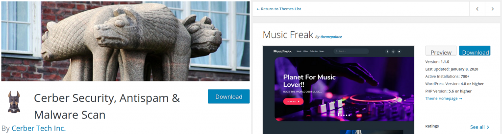 WordPress Cerber plugin and Muic Freak theme Author sections