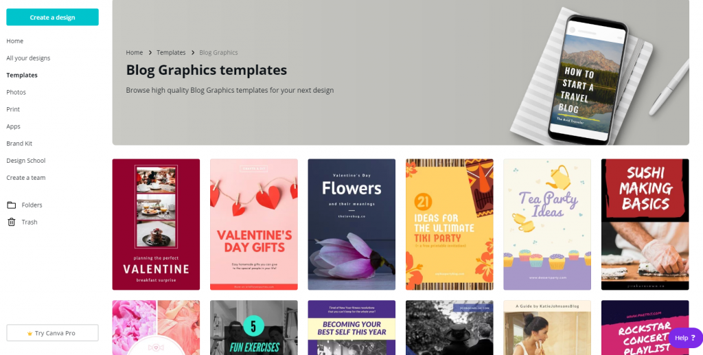 Canva templates for on-page graphics