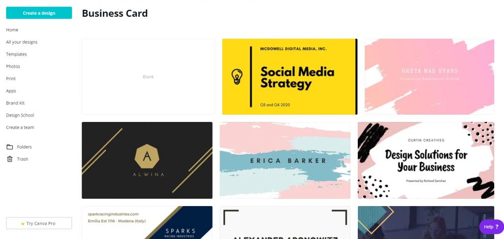 Canva business card templates