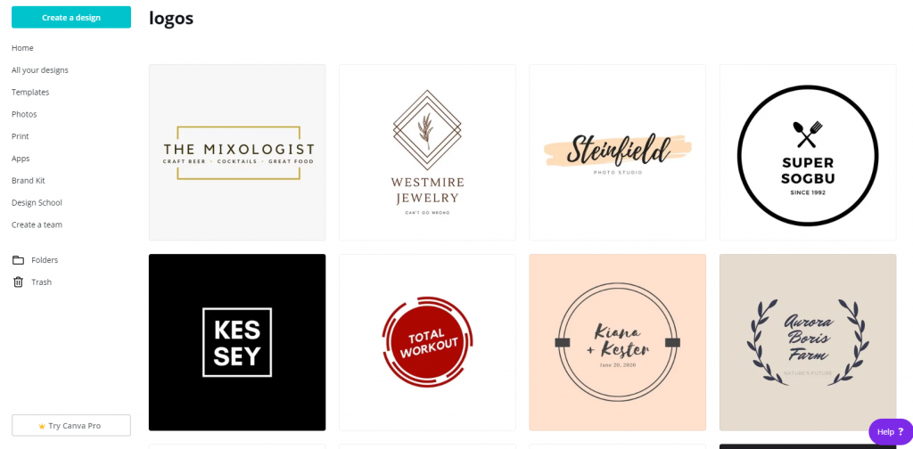 Canva logo templates