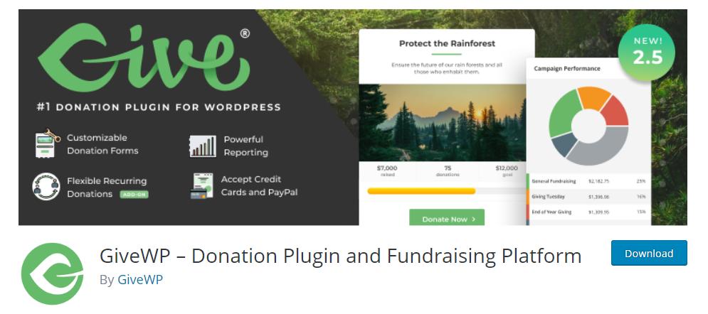 Give WordPress donation plugin