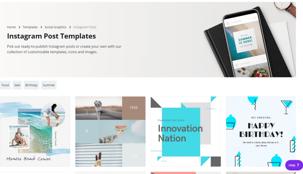 Canva templates for Instagram