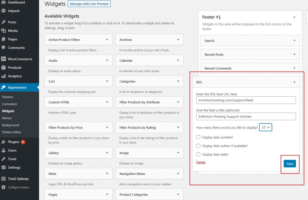 Configuring the RSS Widget in WordPress