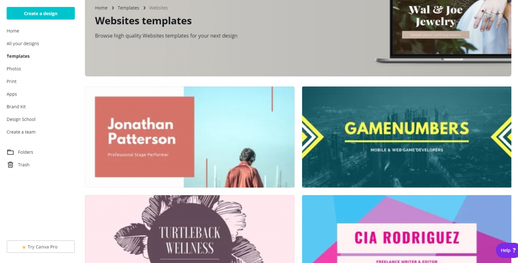 Canva templates for website banner or hero image