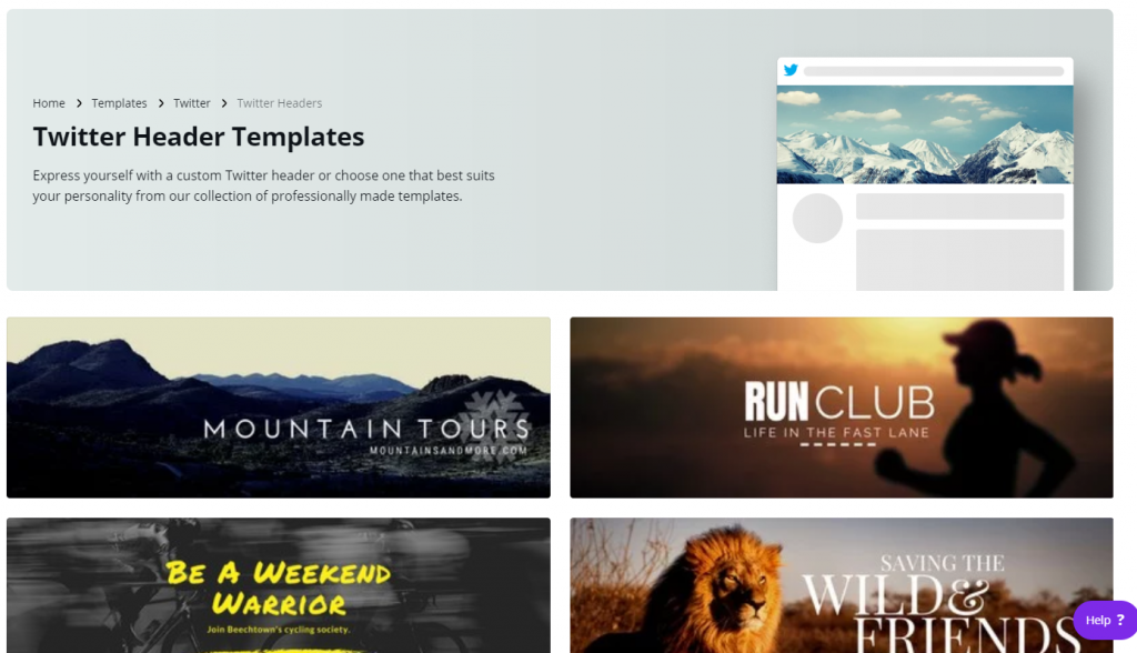 Canva templates for Twitter banners