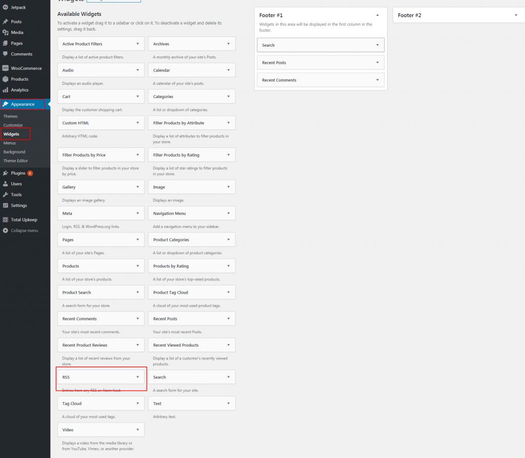 Finding the RSS Widget in WordPress