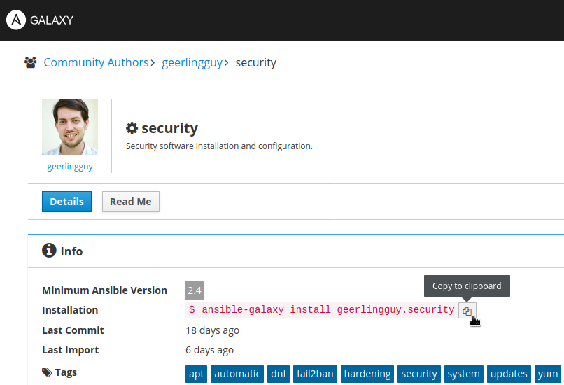 Ansible Galaxy Security Role Details