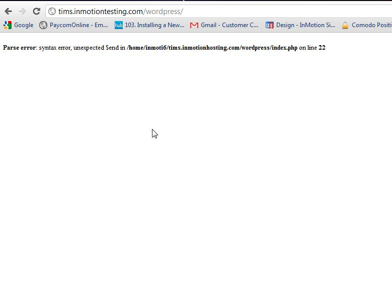 blank screen with error message