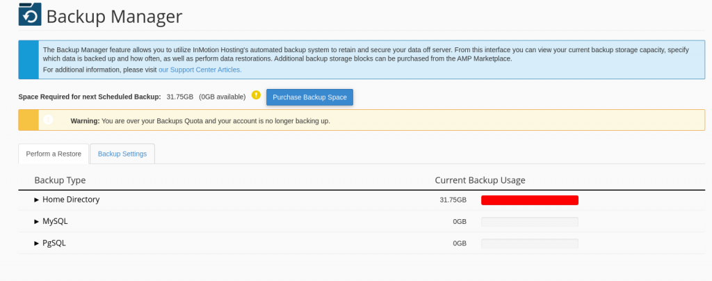 cPanel Alert for Backup Storage exceeded