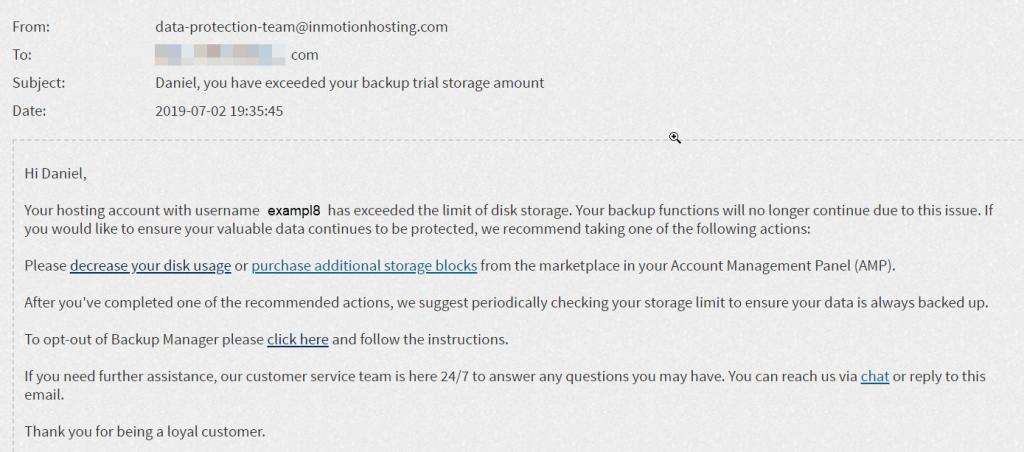 Email Alert for Backup Storage exceeded