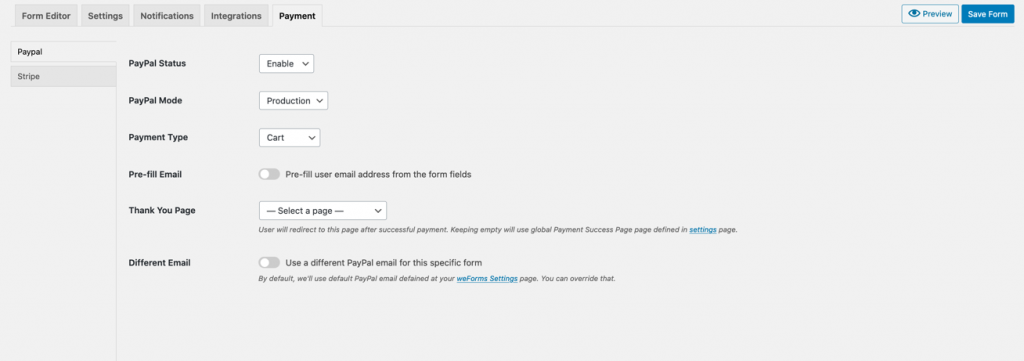 payment settings tab