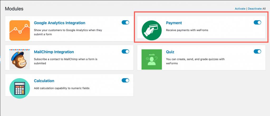 payment setup module