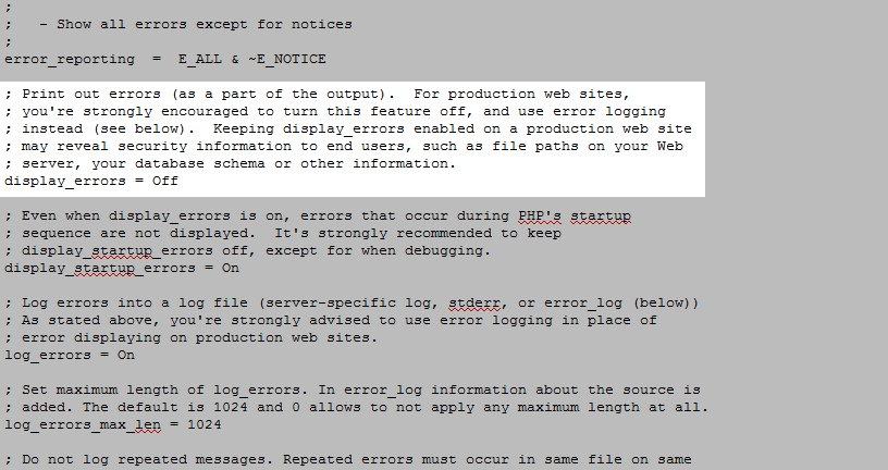 php ini display errors