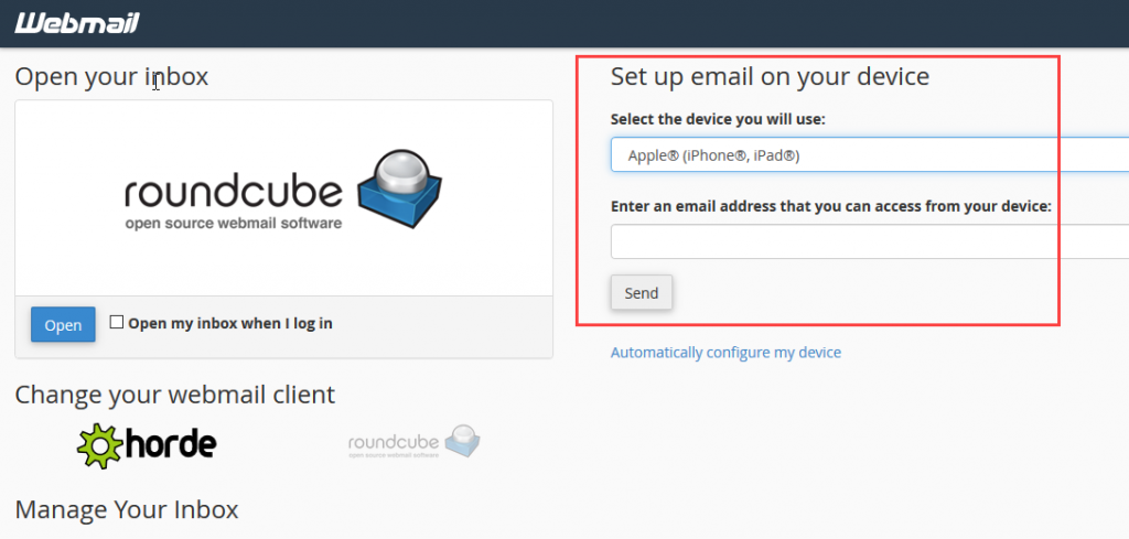 webmail device setup