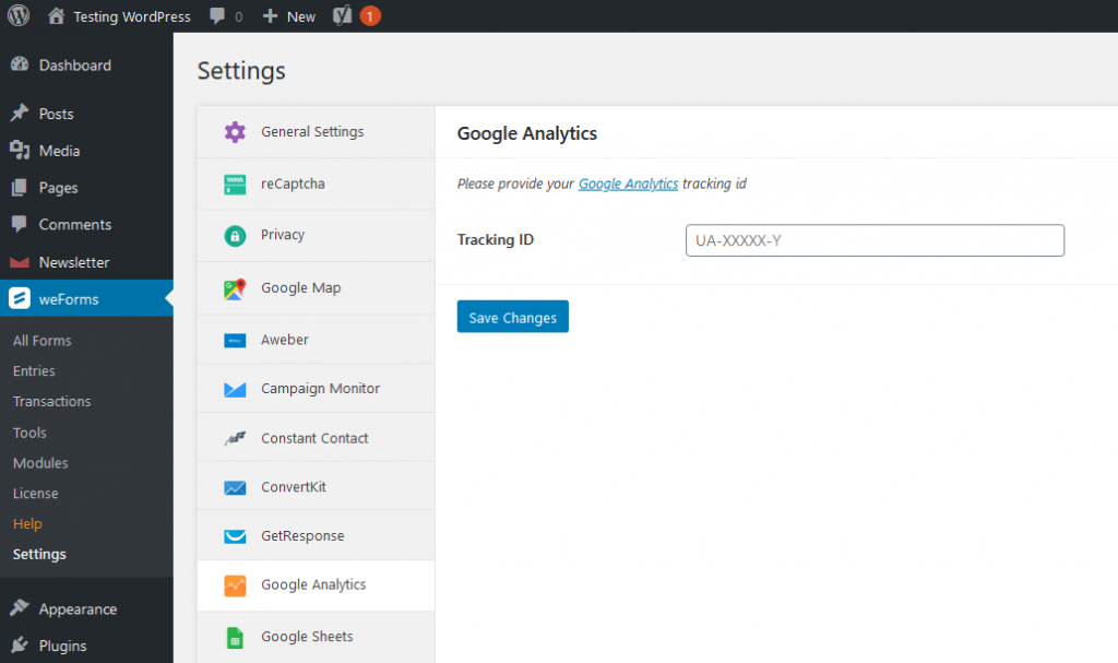 weforms google analytics key 1