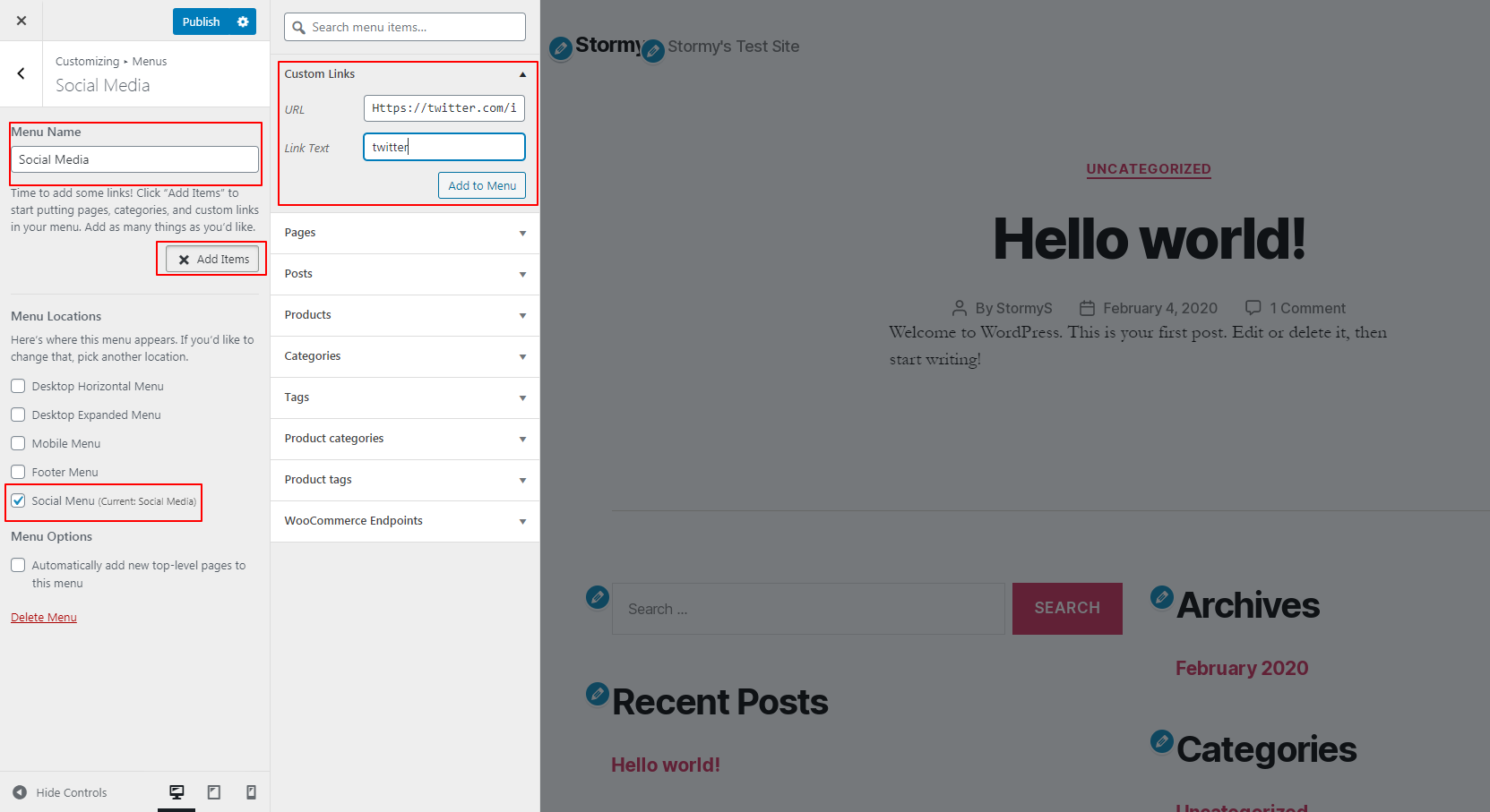 adding social icon in menus options of customizer