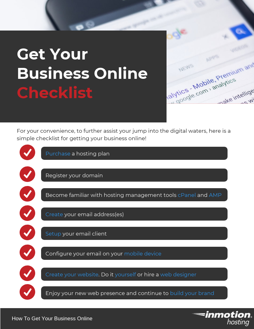 Get Your Business Online Quickly Check list