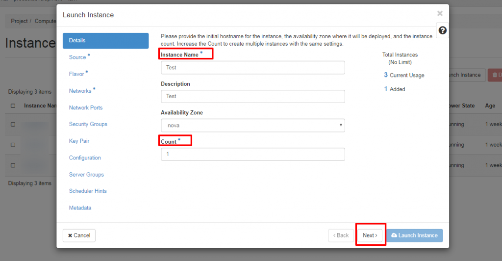 Creating a new instance details