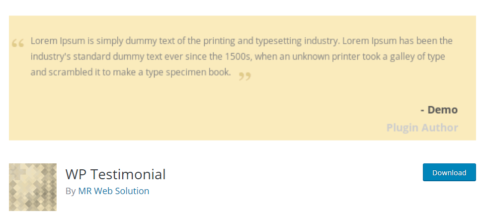 WP Testimonial – WordPress plugin WordPress org