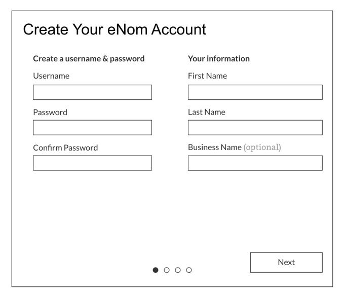 Create new eNom Account