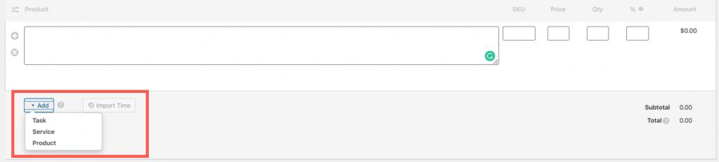 Select line item type