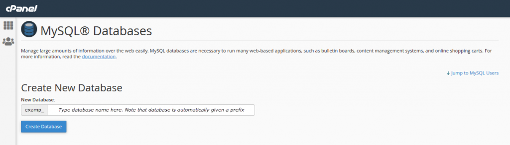 Create a New Database in cPanel.  Use the tutorial link if you need guidance
