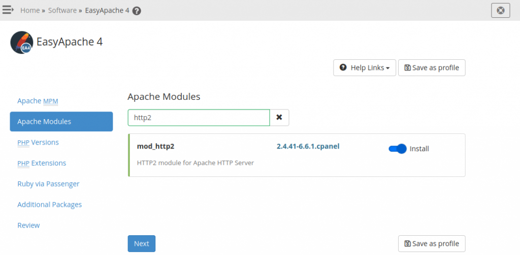 Select mod_http2 in Easy Apache 4