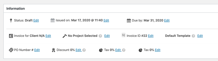 information invoice section