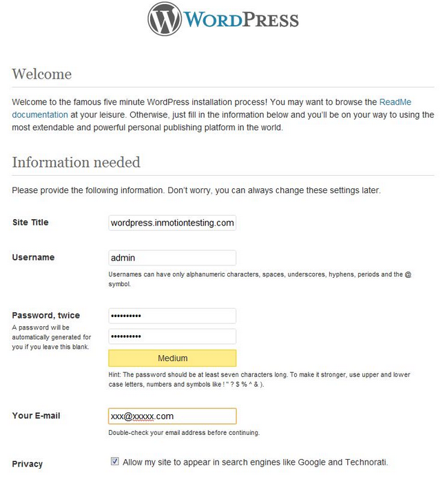 Add the site title, user name (for your administrator) and password