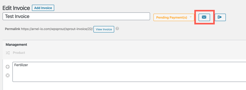 Notification icon in Sprout Invoices
