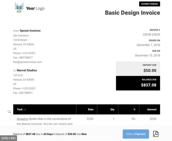 sample invoice 1a