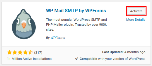 Activate WP Mail SMTP plugin