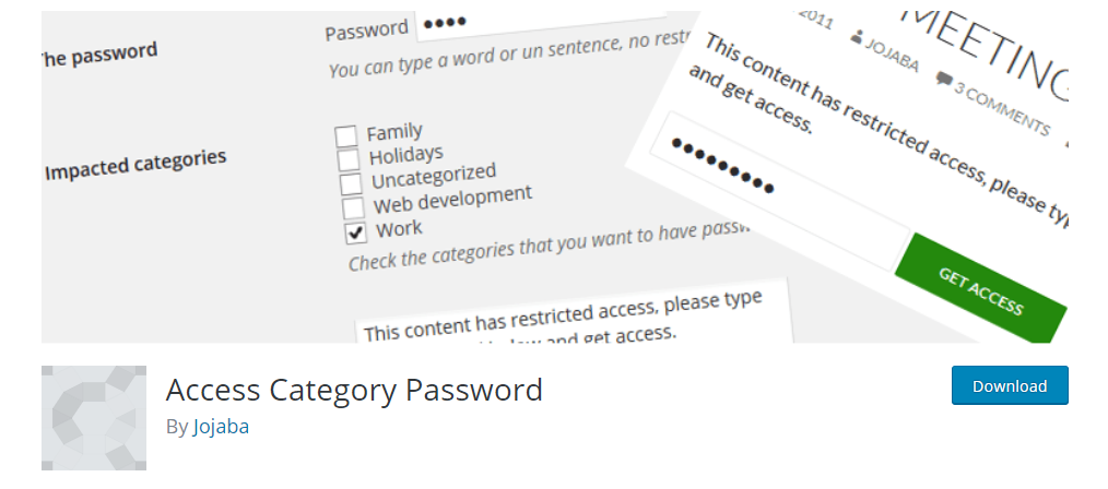 Password protect WordPress blog categories