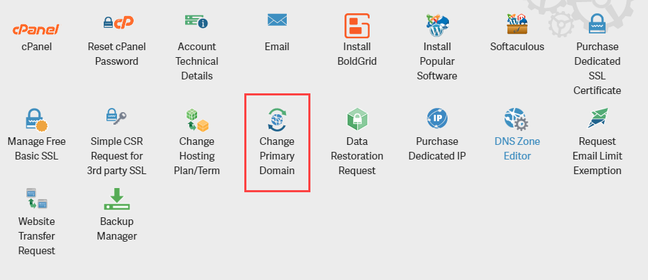 Select Change Primary Domain from AMP