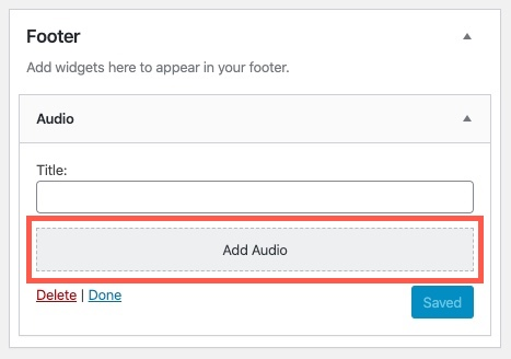 Click on the Add Audio  option to add the audio file to your widget
