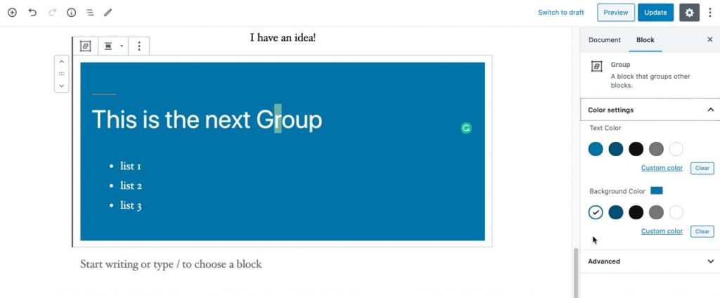 Use the Group block option to color the background to see the content blocks added to the group.