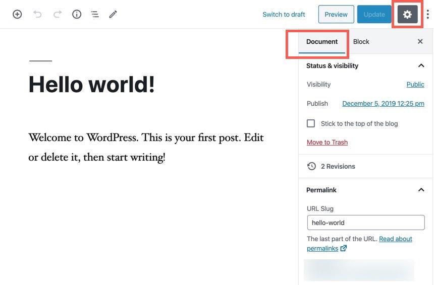 Document properties in the WordPress editor