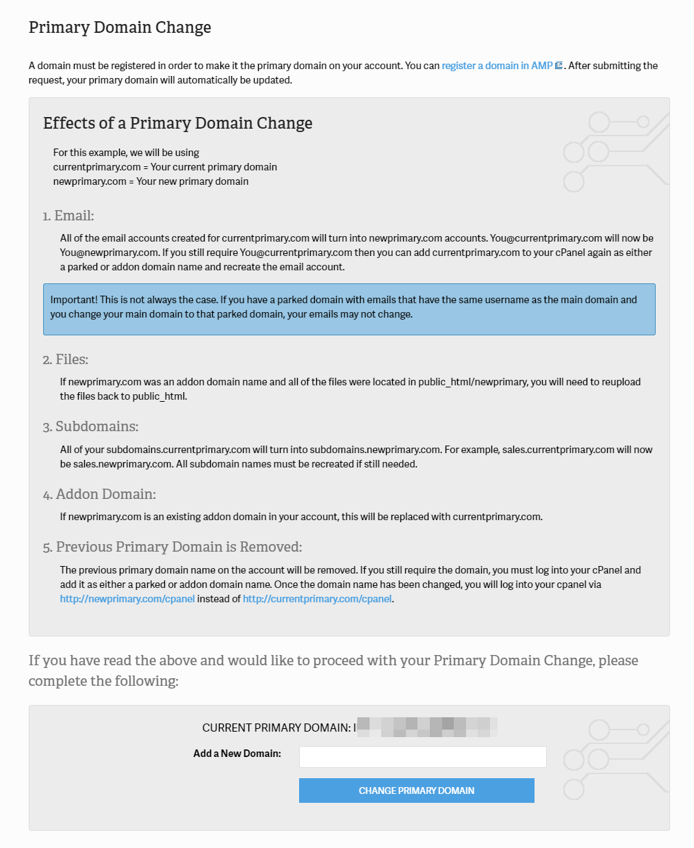 Change Primary Domain in cPanel Everything Affected