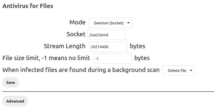 Antivirus for Files Daemon (Socket) mode