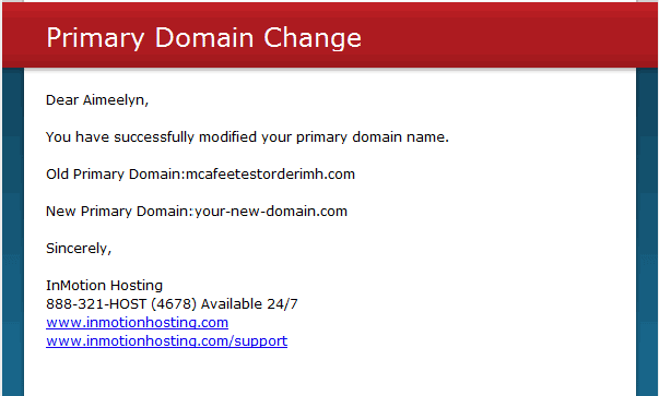Primary Domain Change Email