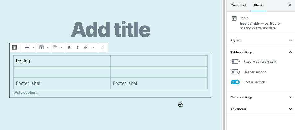 Click on the Footer section slicer to enable the footer in the table