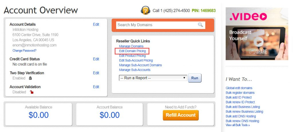 Click on Edit Domain Pricing
